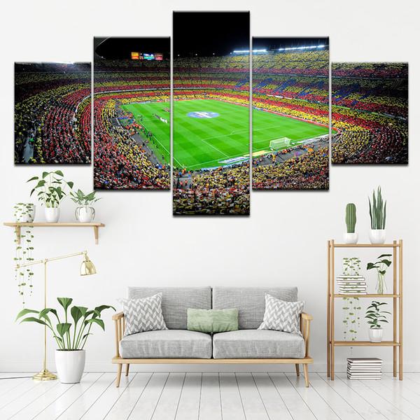 Grosshandel Leinwand Malerei Spanien Fussball Stadion 5 Stuck Wand Kunst Malerei Modulare Tapeten Poster Print Home Decor Von Solutionwinni 36 98 Auf