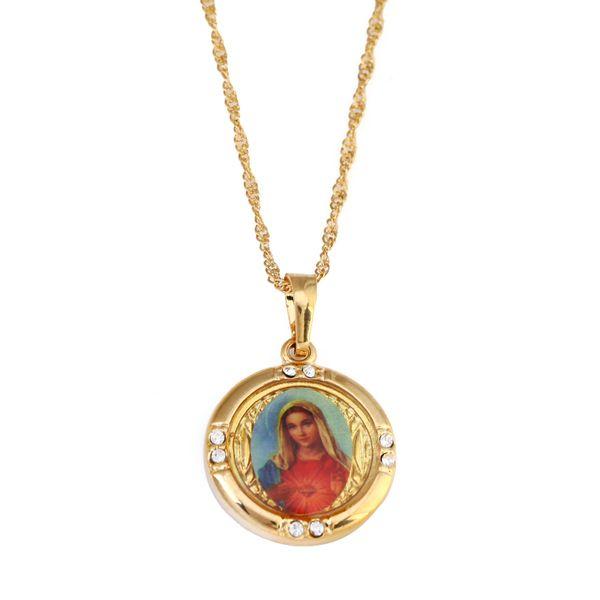 Altın Kaplama Katolik Hıristiyan Takı Emaye Mübarek Anne Cameo Meryem Meryem Kolye Kolye Takı