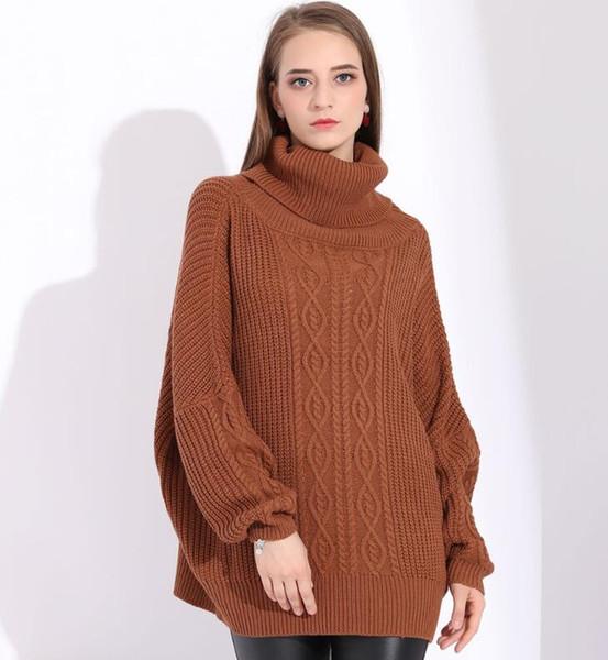 Großhandel Neue Rollkragenpullover Damen Pullover Übergroße Jumper Damen Damen Winterpullover Frauen Pullover Strick Oversize Pullover