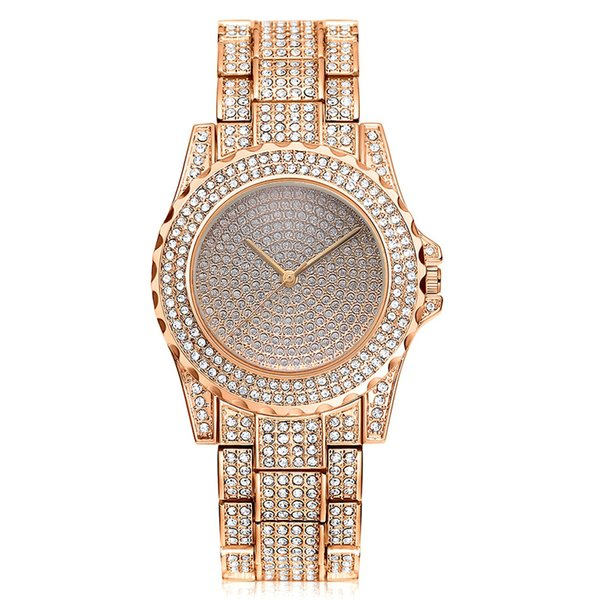 New Famous Luxury Crystal Dial Bracelet Quartz Wrist Watch Christmas Gift for Ladies Women Gold Rose Gold Silver Quartz Wristwatch