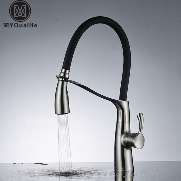 Nickel brossé 360 pivotant en laiton cuisine mélangeur évier robinet tirer vers le bas avec support salle de bain cuisine robinet chaud et froid grue