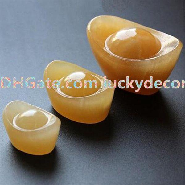 10Pcs Mascot Natural Topaz Quartz Crystal Carved Yuan Bao Natural Yellow Jade Feng Shui Crafts Auspicious Lucky Money Ingot Room Decoration