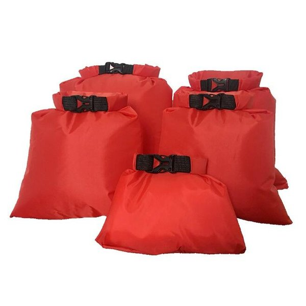 7 Colors 5pcs/set Coated Waterproof Dry Bag Storage Pouch Silicone Fabric Pressure Rafting Canoeing Boating Dry Bag CCA10373 30set