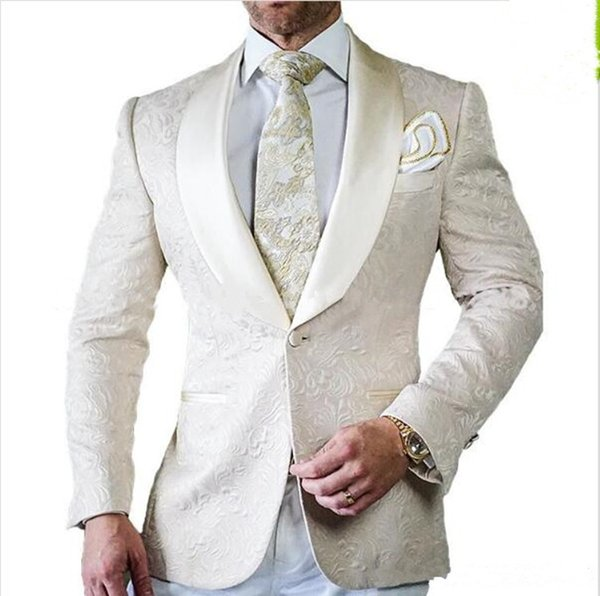 New Arrival Groomsmen Ivory Pattern Groom Tuxedos Shawl Satin Lapel Men Suits Side Vent Wedding/Prom Best Man ( Jacket+Pants+Tie ) 102