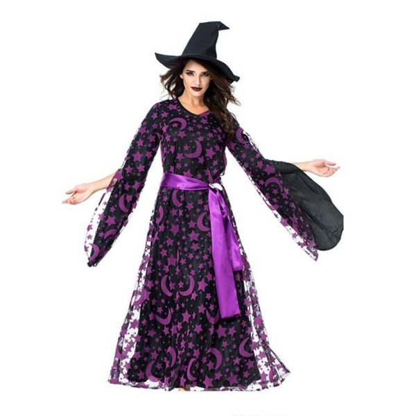 2018 HOT Adult Purple Evil Witch Costume Female Cosplay Costume Halloween Wandering Soul Gothic Witch Long Dress Free shipping