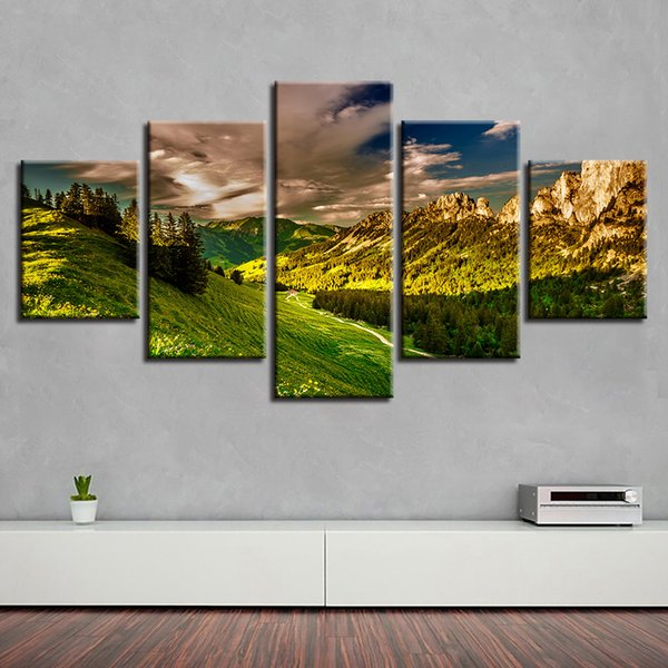 Wall Art Poster 5 Panel Mountain Sunshine Tree Scenery Painting HD Printing Home Decor Living Room Frame Modular Canvas Pictures