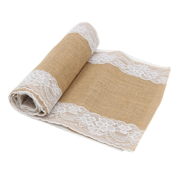 Jute Burlap Lace Table Runner Ribbon 30x275cm Party Runner Table Cloth Cover Banquet Wedding Decoration Home Textiles Reusable