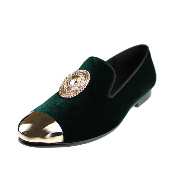 Harpelunde Animal Buckle Men Dress Wedding Shoes Green Velvet Loafers With Copper Cap Toe Size 6 to 14