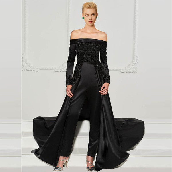 Fashion Black Lace Jumpsuits Evening Dresses With Detachable Train Off The Shoulder Beaded Formal Gowns Long Sleeves Sequined Prom Dress