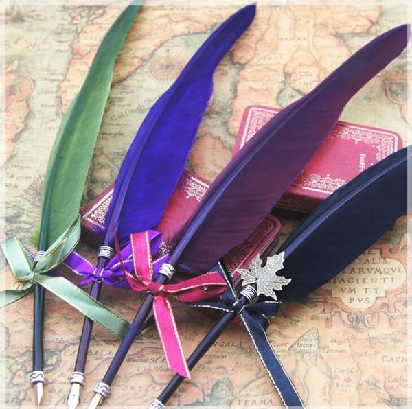 16 farben feder quill pen farbe ink pen schreibwaren feder form pen für student weihnachten geburtstagsgeschenk ljjg491 50 stücke