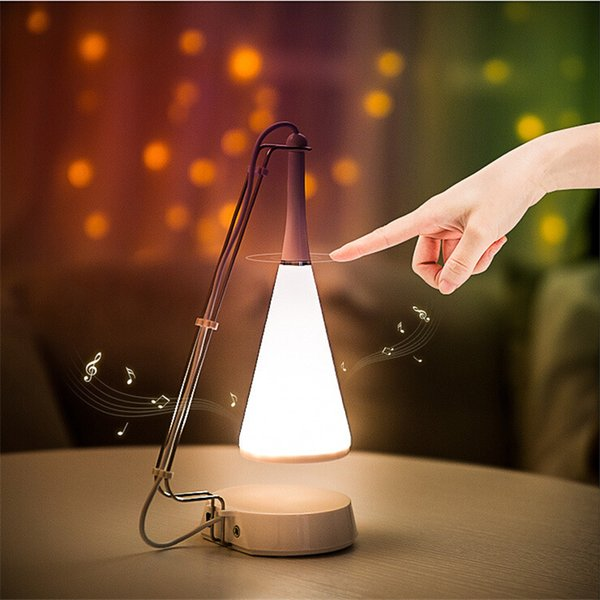 La música de Bluetooth de luz LED táctil controlada luz de la tabla lámpara del altavoz del USB de carga ajustado Escritorio Audio noche de la lámpara de iluminación
