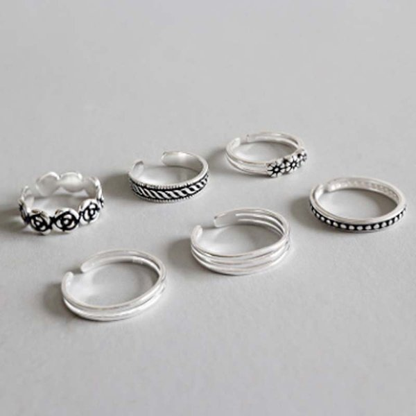 Silver S925 sterling silver creative personality six sets of open old joint ring tail ring gold chain necklace jewelry silicone bracelets