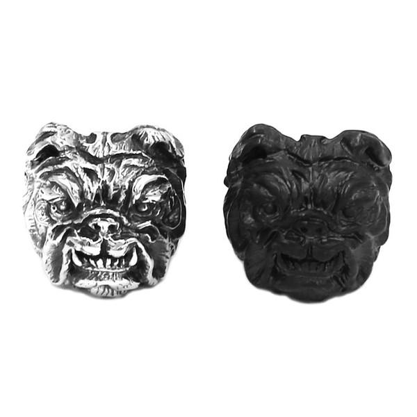 ¡Envío gratis! Venta al por mayor Pit Bull Dog Ring Joyería de titanio de acero inoxidable Personalidad Vintage Plata Negro Animal Biker Hombres Niños Anillo 807B