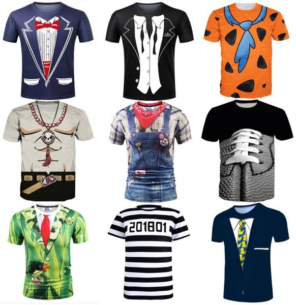 New Fashion Womens Mens Tuxedo Short Sleeves Funny 3D Print Summer Style Casual Fake Uniform T-Shirt Tops Tee
