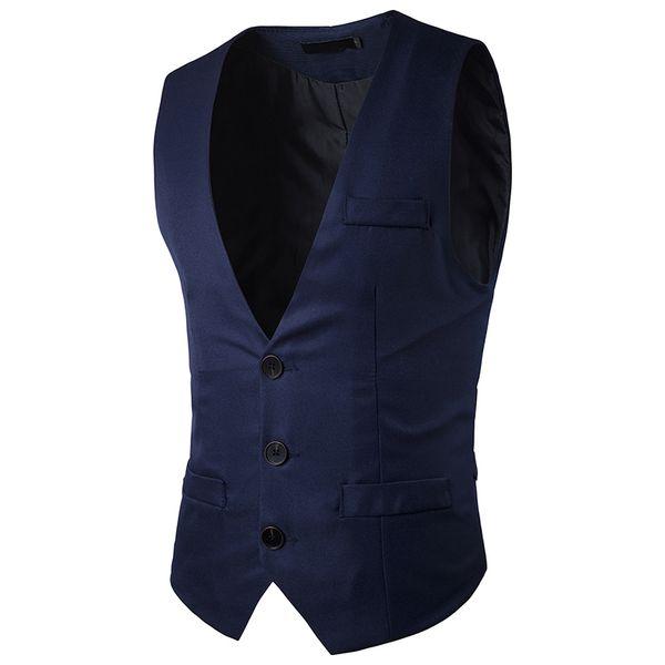 Terno dos homens colete ood qualidade cor sólida vestido de noiva de negócios colete para homens moda slim fit colete homens da marinha