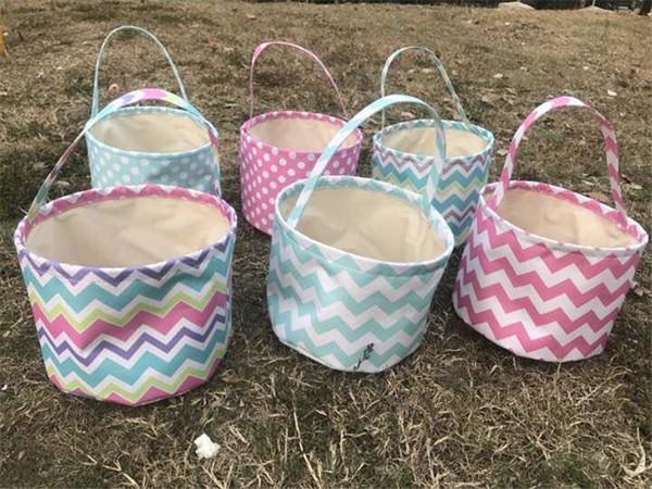 Fai da te Easter Bunny tessuto secchio Tote Bag Rabbit Ears Design divertente stoccaggio Borse a mano cesto di tela bambini regali