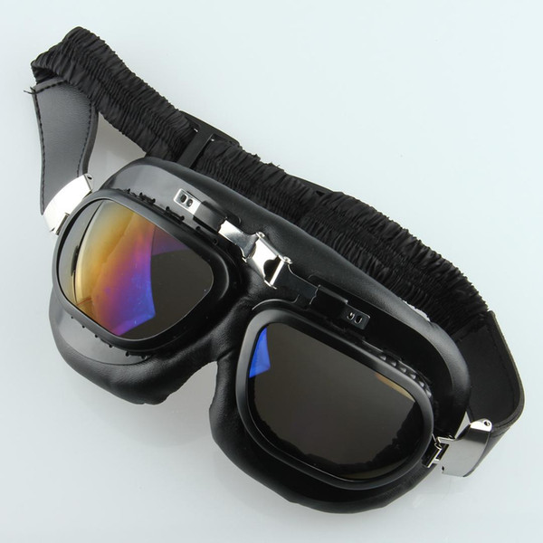 Bunte Objektiv Motorrad Helm Goggles Motocross Vintage Schwarz PU Design Dirt Fahrrad Racing Brillen Gläser Cafe Racer
