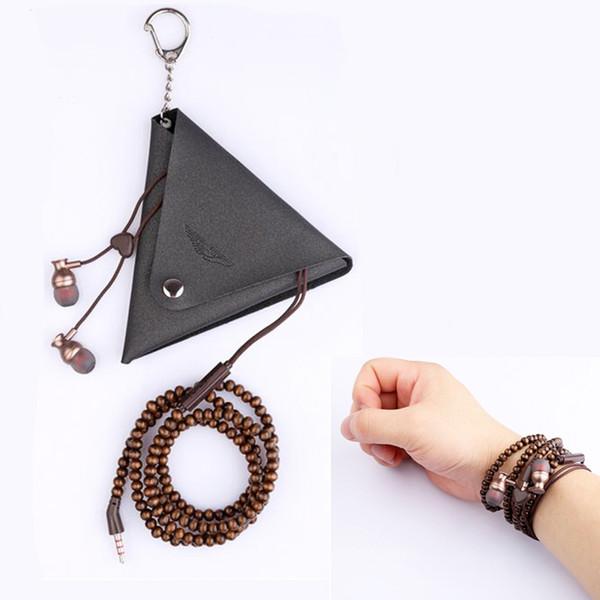 Collier en bois de perle Bracelet Écouteurs avec MIC + Sac In-Ear Fones De Ouvido Mobile Casque Pour Iphone Smartphones