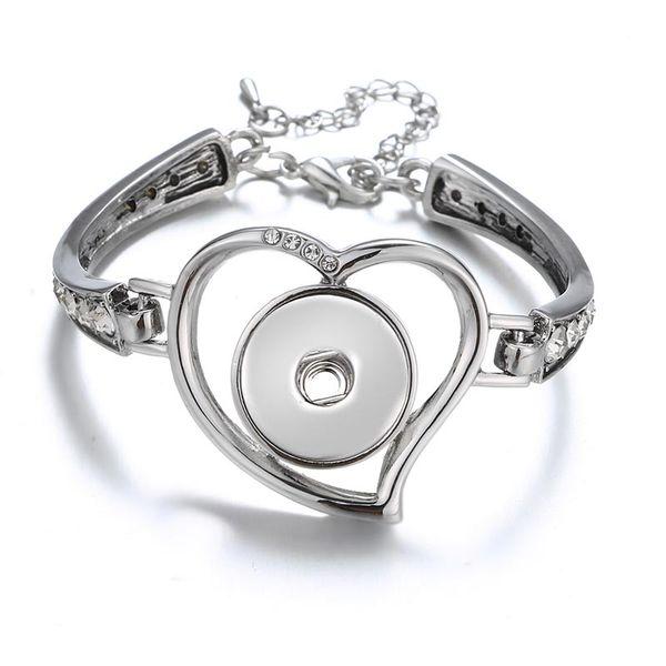 Bracelets de charme de coeur pour petite amie fit 18mm Noosa Chunks boutons cordon de serrage fermoir magnétique plaque argent Snap bijoux à vendre