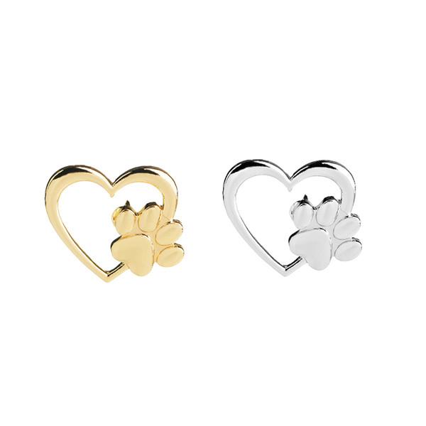 Kalbinde pençe Broş Köpek paws Kedi pençe Pimleri Altın Gümüş Kazak Yaka Pin Rozeti Hediye Takı Hayvan Kadınlar Kız Çocuklar için Broşlar