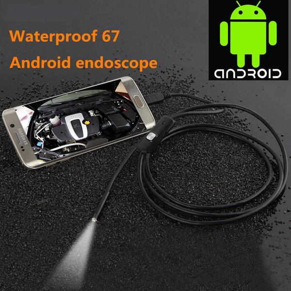Cewaal 7mm Lens 1 M Android Telefon Endoskop IP67 Su Geçirmez Muayene Borescope Tüp HD 6 LED Boru Yılan video Kamera ile OTG