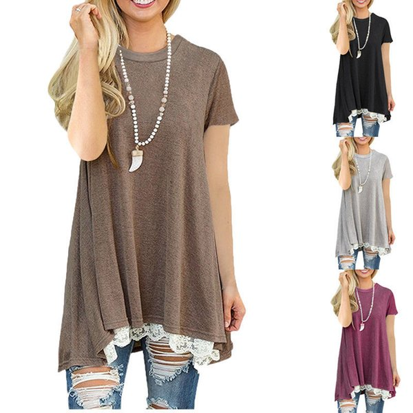 Women T-shirt Casual Short Sleeve Tops Loose Ladies Lace Baggy Top Jumper T-Shirts O-neck Summer Women Clothes