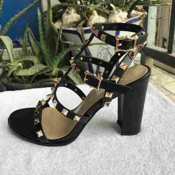 2018 Nuevo verano elegante mujeres negro hecho a mano tacones altos remache boda de cuero genuino sexy zapatos de novia bombas sandalias free35-40