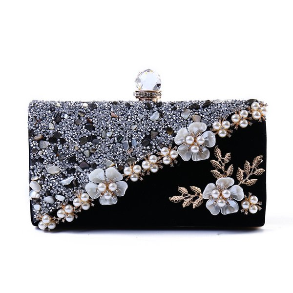 Fashion Bags For Women 2018 Vintage Velvet Evening Clutch Bags Crystal Ladies Handbag Wedding Women Evening Shoulder Bags Bolsas Y18103004