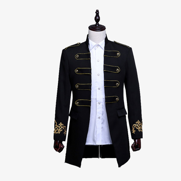 Men Double-breasted England Style Long Slim Fit Blazer Design Wedding Groom Suit Jacket Mens Stage Wear Singer Costume