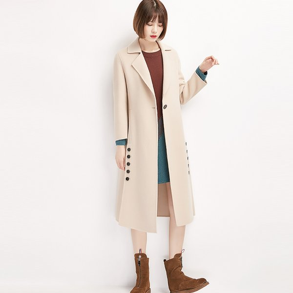 Dupla face novo casaco 2018 fêmea novo estilo médio e longo estilo único fivela, ambos os lados garfo aberto e double breasted.
