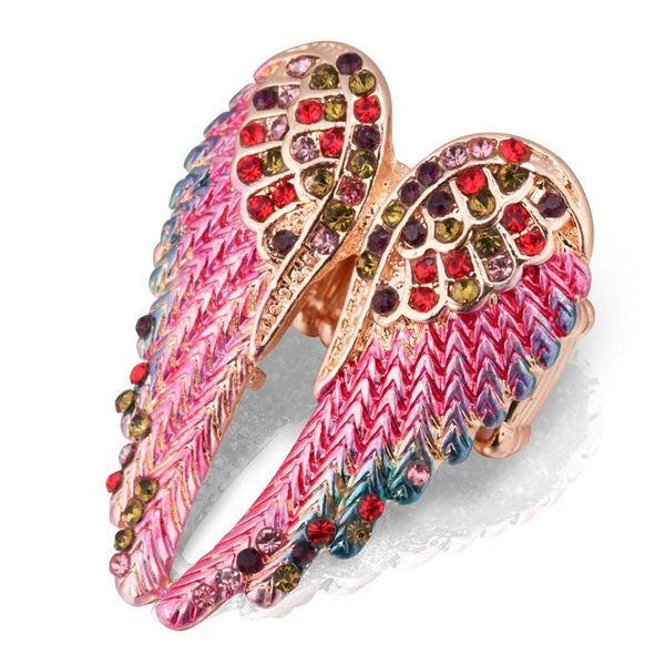 1pc regolabile Angel Wings anello Boho Punk Biker gioielli d'oro antico colore Vintage strass Anelli per le donne degli uomini