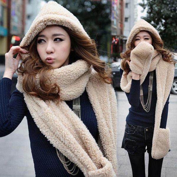 3 in 1 Women Autumn Winter Warm Plush Hood Scarf Snood Thicken Hats Gloves XRQ88