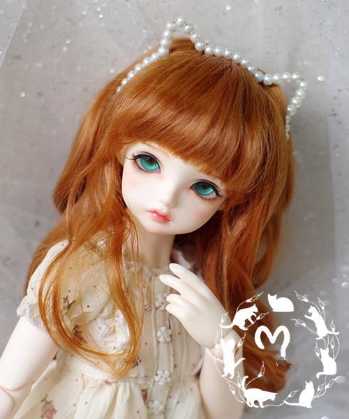 BJD doll wigs orange red curly hair Imitation mohair wigs for 1/3 1/4 1/6 BJD MSD MDD YOSD doll hair accessories
