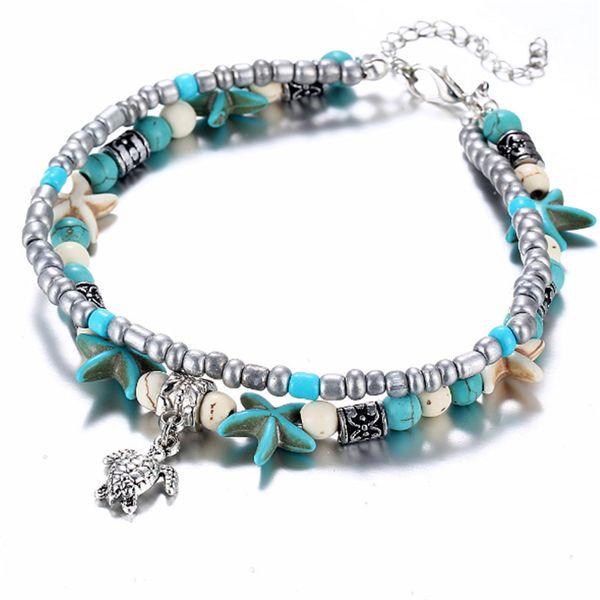 Vintage Shell Beads Starfish Turtle Elephant Peach Heart Anklets For Women New Multi Layer Anklet Leg Bracelet Handmade Bohemian Jewelry