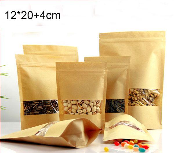 100 pz / lotto spedizione gratuita 12 * 20 + 4 cm food grade marrone kraft stand up sacchetto di carta con cerniera, buona tenuta sacchetto di carta Kraft