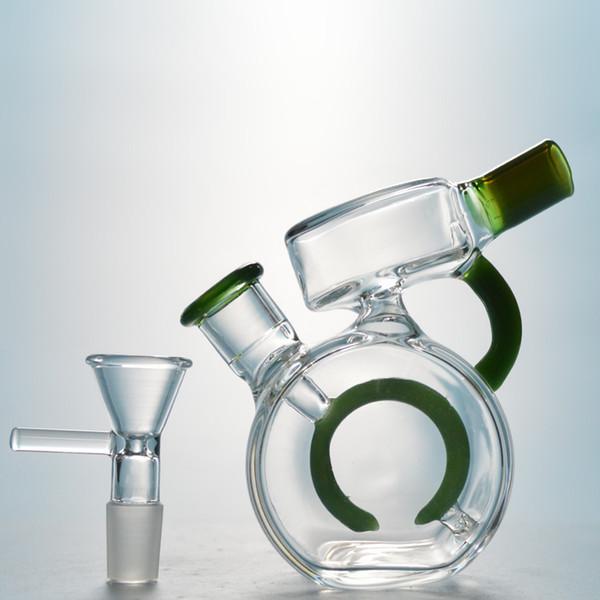4 Inch Green Bubbler Circle Perc Percolator Bongs Toro Glass Water Pipes Mini Rig Dab Bong Small Dab Rig 2018 Bubblers Waterpipe NN04