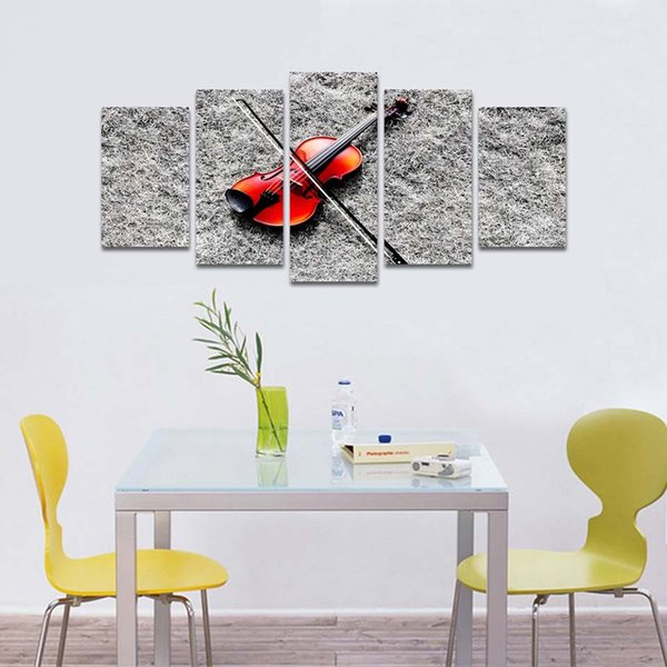 Modular Canvas Wall Art Pictures Frame Poster 5 Pieces Music Red Guitar Home Decoration For Living Room Modern HD Print Painting