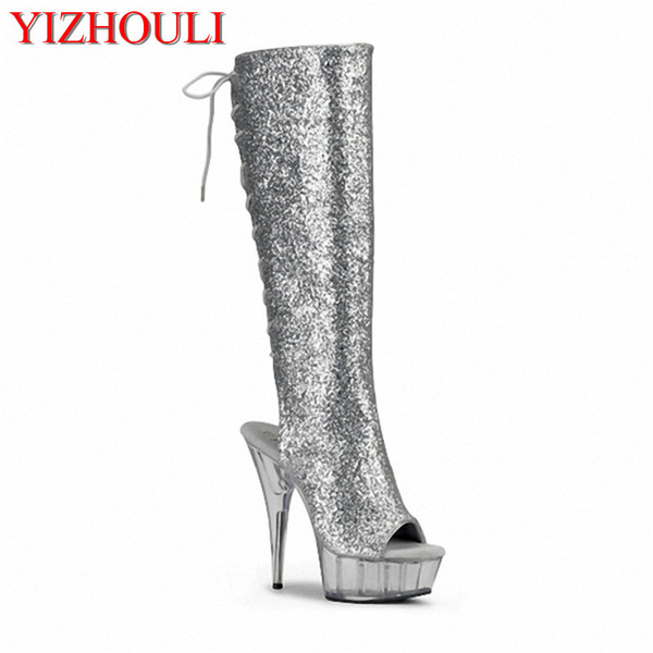 6 inch high heels knee boots platform women Crystal fashion shoes The back strap spring and autumn cool boots