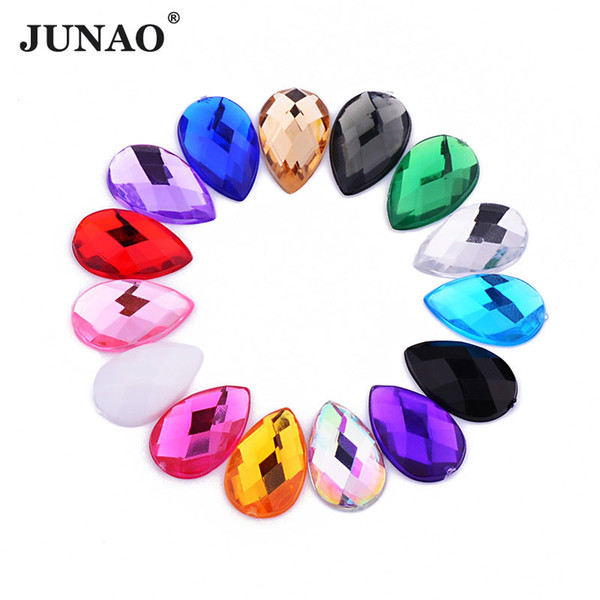 JUNAO 8*13mm Mix Color Drop Rhinestones Flat Back Acrylic Gems Clear AB Crystal Stones Non Sewing Scrapbook Beads for DIY Clothes