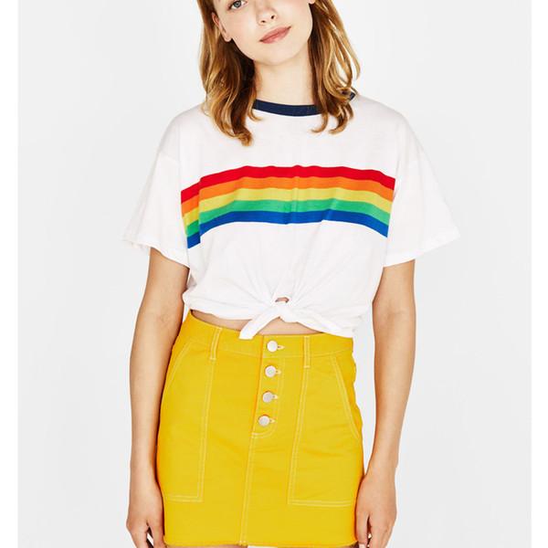 Rainbow T Shirt Mujer vegana verano Tumblr BTS Kpop niña Power Kyliejenner Moda blanco recortada Teen Girl Mujer Feminina Femme