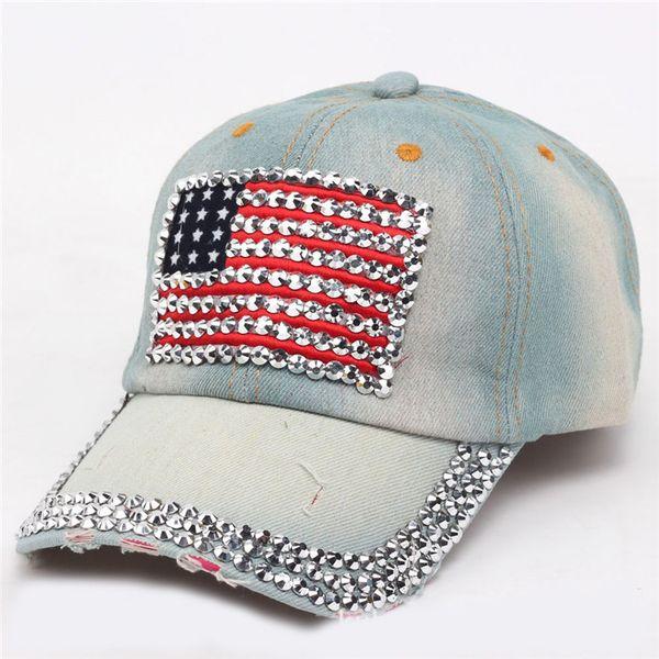 Gorras de béisbol de las mujeres 2018 Verano 4 de julio Sombrero de la  bandera americana Sombrero de mezclilla de diamantes de imitación de  vaquero Moda 6 ... c9aa1b92867
