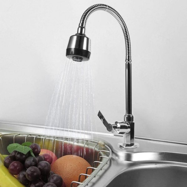 Zinc Alloy Kitchen Faucet Mixer Single Handle Single Hole Swivel Spout Pull Down Spray Cold Water Kitchen Tap Durable