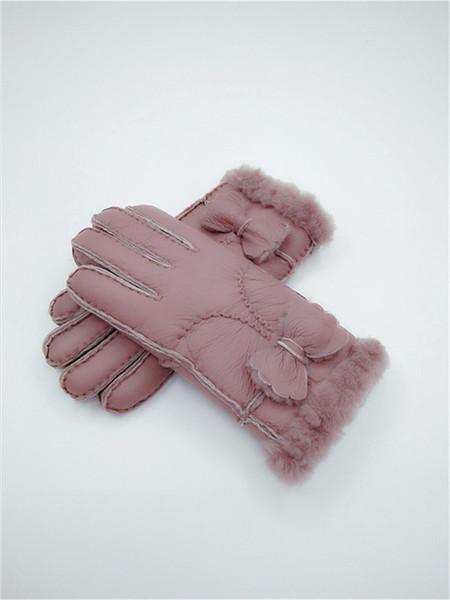 Mode frauen Winter Wolle Handschuhe Bogen Warme Handschuhe Windproof Frostproof Lederhandschuhe 100% Leder Qualität