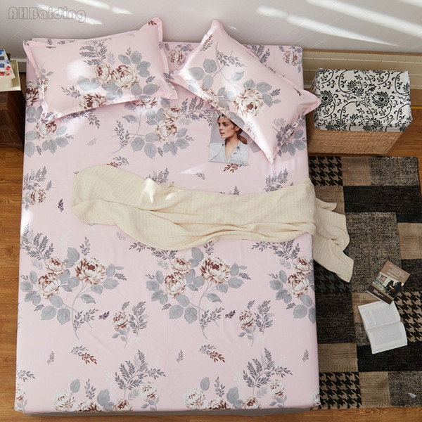 New Pink Flowers Bed Sheet Sets Include 1pc Fitted Sheet + 2pcs cases Bed Linens Elastic Rubber Band Twin Full Queen Size