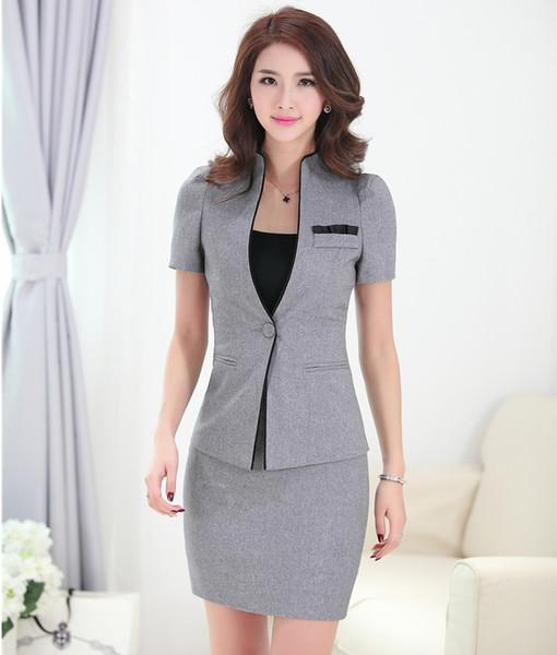 Trajes de falda femeninos formales de verano para mujeres Trajes de negocios Conjuntos de chaqueta y chaqueta grises Uniforme de oficina Estilos