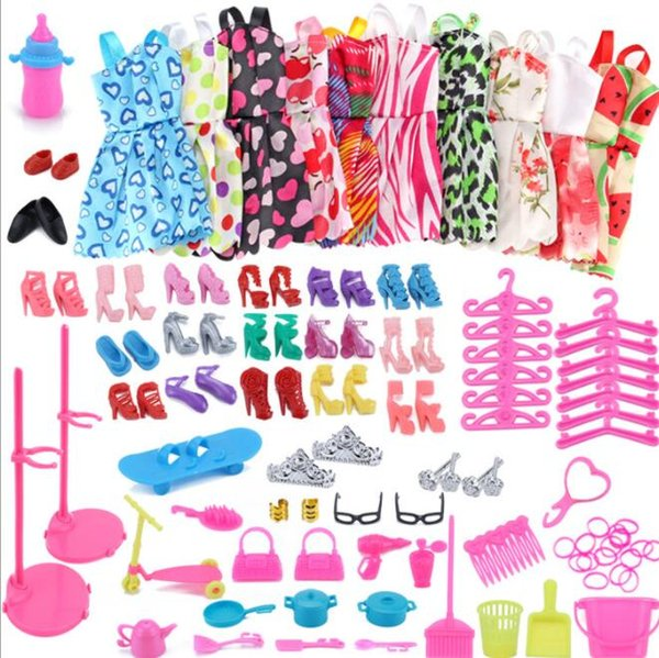 10 Piece Beautiful Party doll Clothes Fashion Dress Accessories 18 Pair Shoes For doll Luxurious Accessories Suit KKA5912