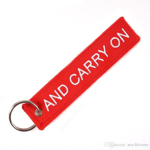 Free DHL Keychain Personalized KEEP CALM AND CARRY ON Key Chain for Motorcycles and Cars Cool Key Holder Embroidery Key Fobs G104Q