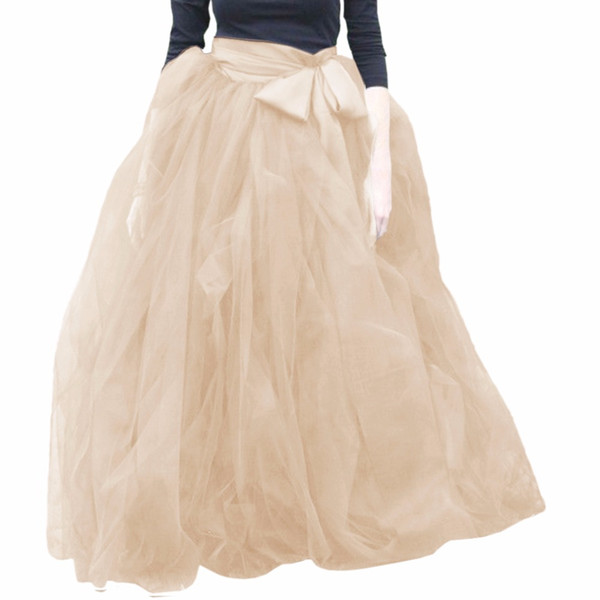Woman Tulle Skirt 2017 New Fashion Long Black Tutu Skirt Ball Gown With Sashes For Woman Tutu Saias High Quality Tulle
