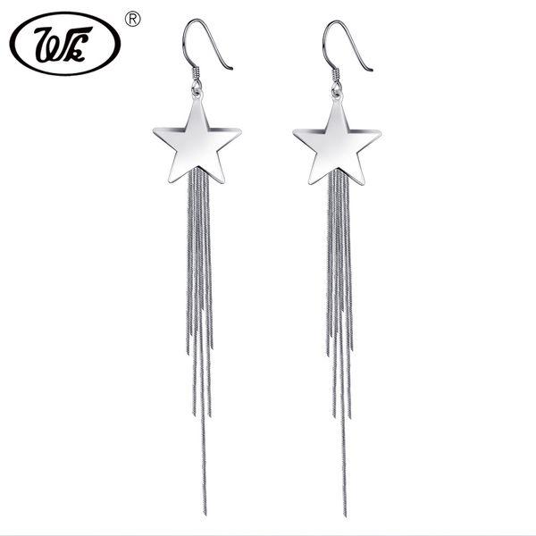 WK Echtes 925 Silber Big Star Lange Quaste Fringe Kette Ohrringe Weiblichen Luxus Dangle Hook Ohrringe Frau Schmuck W5 EB078