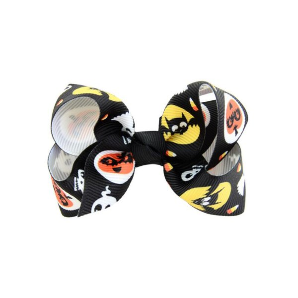 Newest 3 inch Baby Halloween Grosgrain Ribbon Bows WITH Clip Girls Kids Ghost Pumpkin Baby Girl Pinwheel Hair Clips Hair Pin Accessories